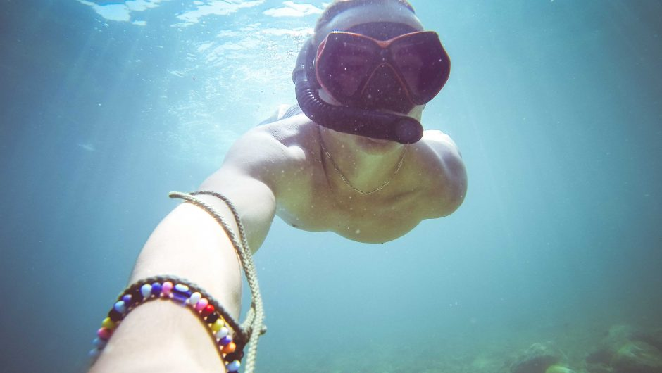 Underwater Diving/Snorkeling Selfie in The Sea