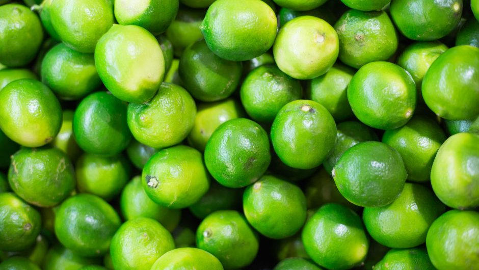 Pile of Green Limes on Market Pattern